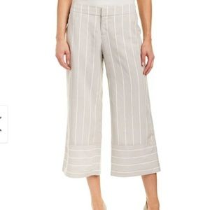 Ecru Mustique Oyster Striped Wide Leg Cropped Pant